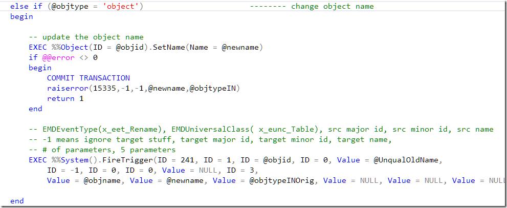 Codeexcerpt - sp_rename