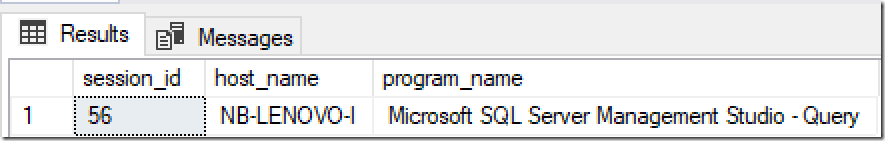 Program Name of active session