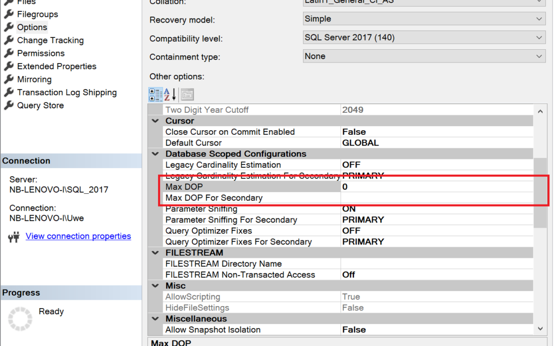 Database Scoped Configuration: Max Degree of Parallelism