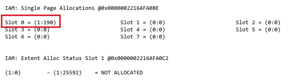 IAM-Seite mit Allokation von Mixed Extent